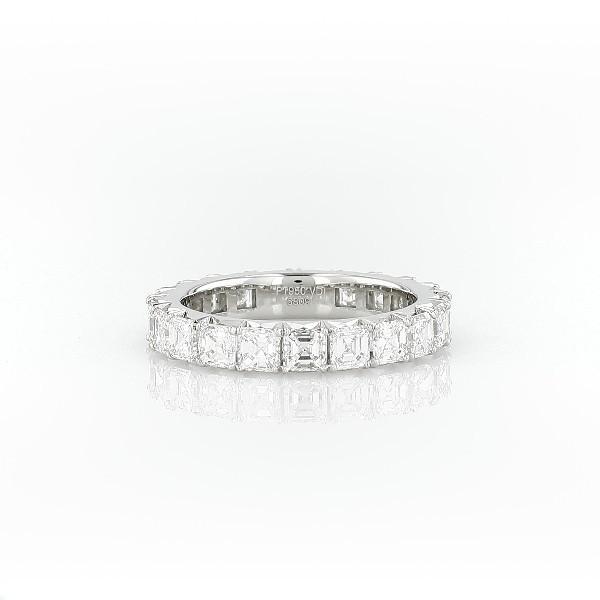 鉑金 Blue Nile Studio 上丁方形切割法式密釘鑽石永恆戒指(3 克拉總重量)