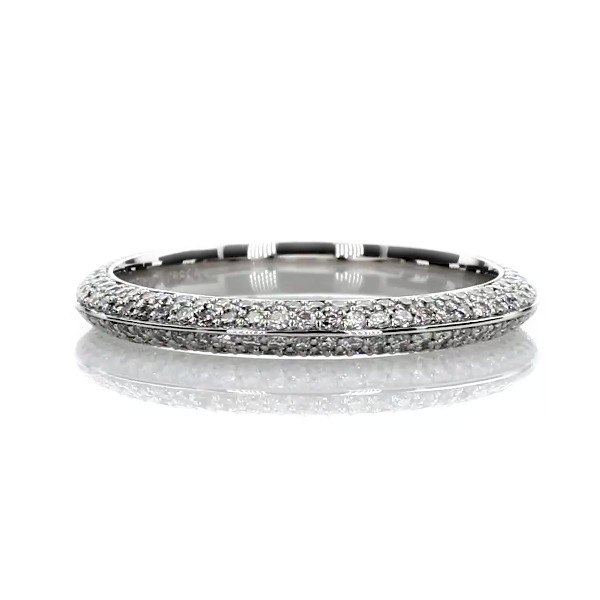 The Gallery Collection Knife Edge Micropave Diamond Eternity Ring in Platinum