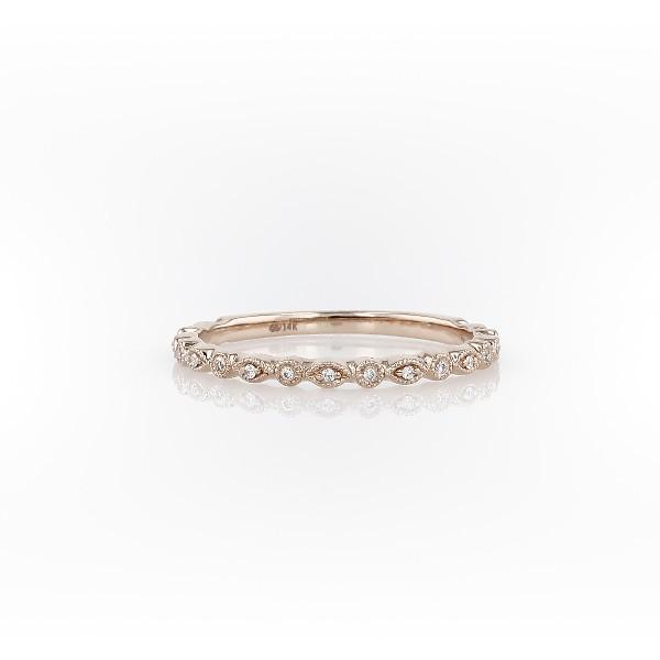 Petite Diamond Dot Stacking Ring in 14k Rose Gold