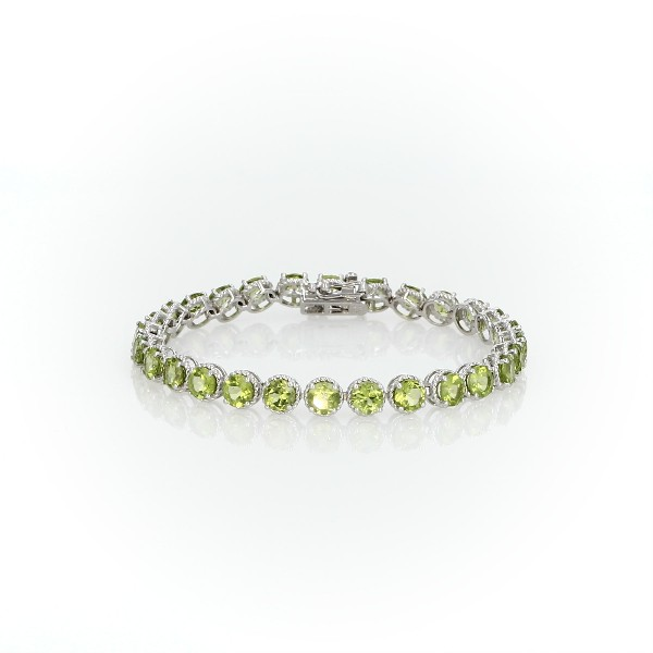 Peridot Round Rope Bracelet in Sterling Silver (5mm)