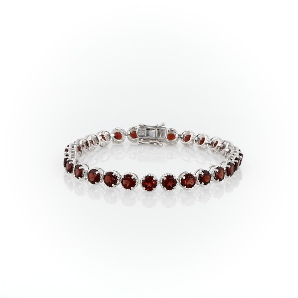 Garnet Round Rope Bracelet in Sterling Silver (5mm)