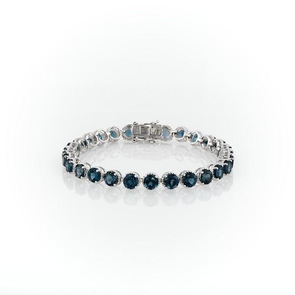 925 純銀倫敦藍色托帕石圓形繩狀手鍊(5毫米)