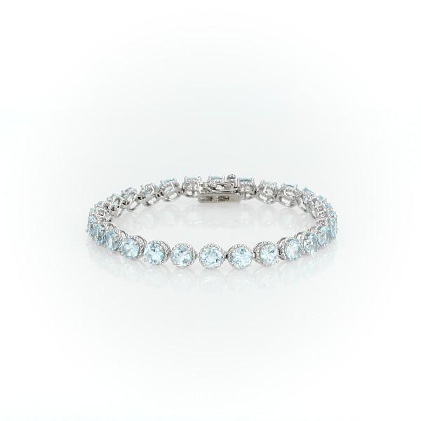 925 纯银圆形天蓝色托帕石绳状手链(5毫米)