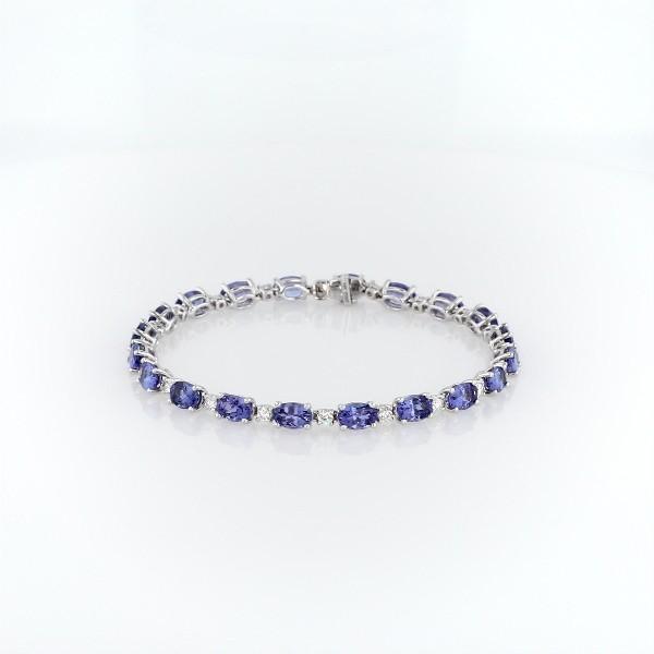 14k 白金坦桑石与钻石手链<br>(6x4毫米)