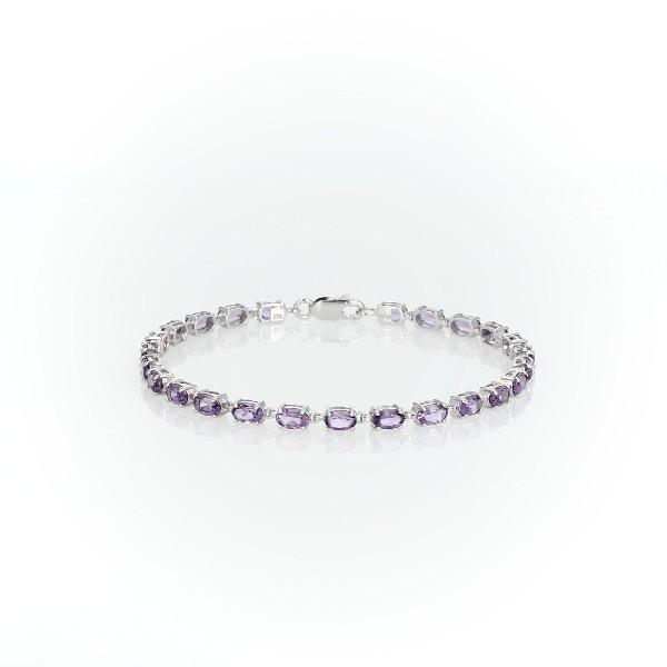 925 纯银小巧椭圆形紫水晶手链(5x3毫米)