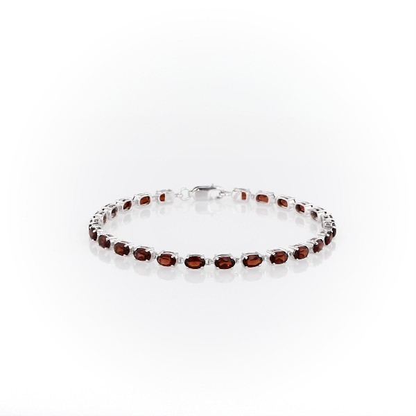Petite Garnet Oval Bracelet in Sterling Silver (5x3mm)