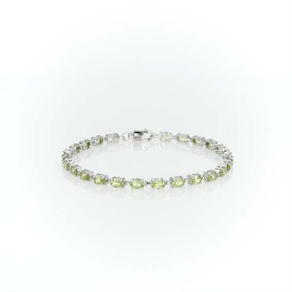 Petite Peridot Oval Bracelet in Sterling Silver (5x3mm)