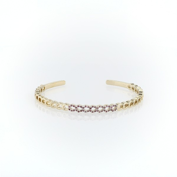 Loop Cuff Bracelet with Pink Tourmaline Detail in 14k Yellow Gold (1mm)