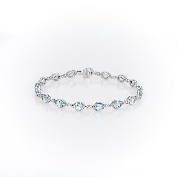 14k 白金海藍寶石無限鏈狀手鍊(5x4毫米)