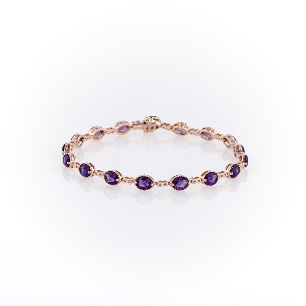 14k 玫瑰金紫水晶无限式链节式手链<br>(5x4毫米)