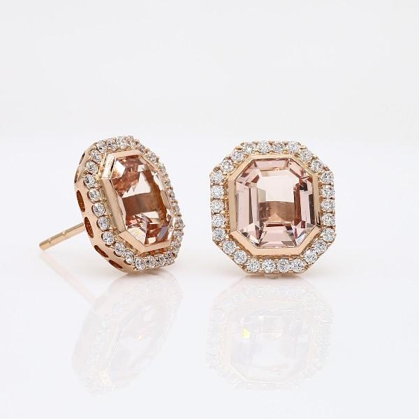 Emerald-Cut Morganite and Diamond Halo Earrings in 18k Rose Gold (9x8mm)