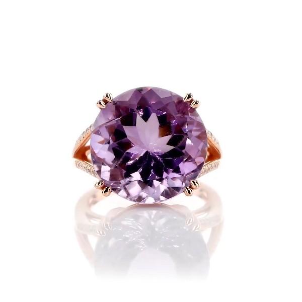 14k 玫瑰金圓形法國玫瑰特色戒指