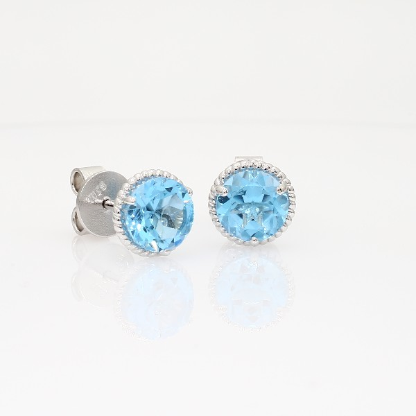 Blue Nile Blue Topaz Rope Stud Earrings in Sterling Silver (7mm) 3LGDSNNUO