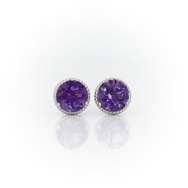 925 純銀紫水晶繩索耳釘耳環(7毫米)
