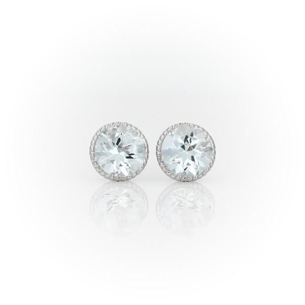 925 純銀海藍寶石繩狀釘款耳環(7毫米)