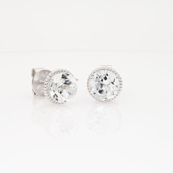 925 純銀白色托帕石繩狀耳環(7毫米)