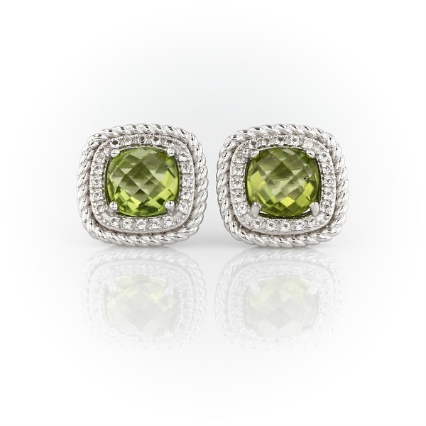 Blue Nile Corda Cushion-Cut Peridot Halo Earrings in Sterling Silver (8mm) NGSWLT