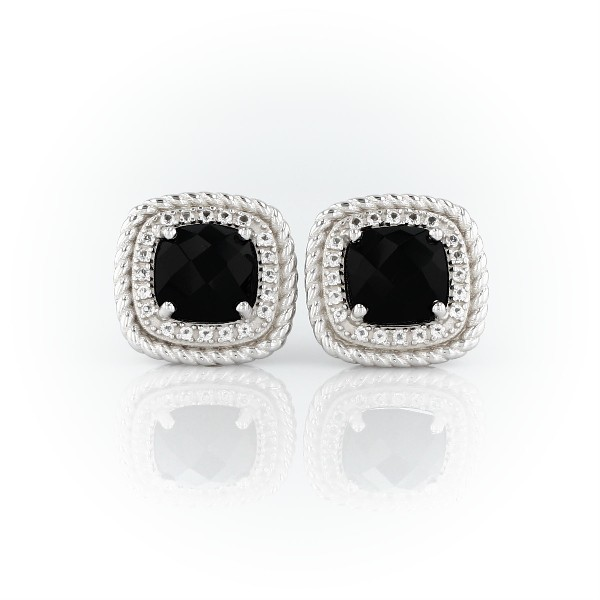 Blue Nile Corda Cushion-Cut Black Onyx Halo Earrings in Sterling Silver (8mm) k0C3st