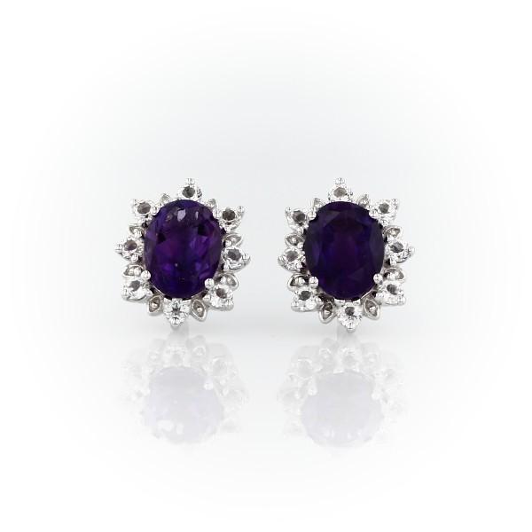 925 純銀旭日橢圓紫水晶釘款耳環(8x6毫米)