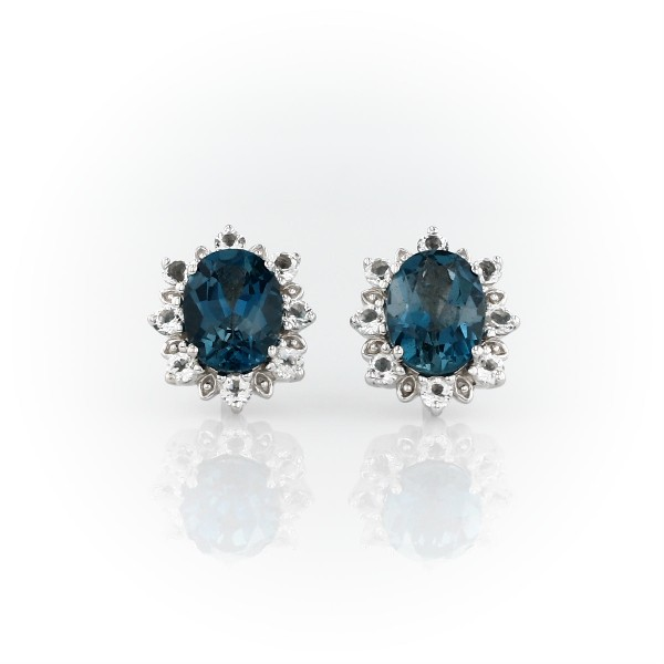 Blue Topaz Stud Earrings In Sterling Silver 8x6mm Top View Image Magnified On Body Front 360 Video