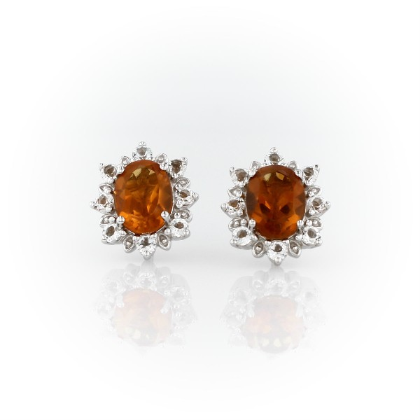 Sunburst Oval Citrine Stud Earrings in Sterling Silver (8x6mm)