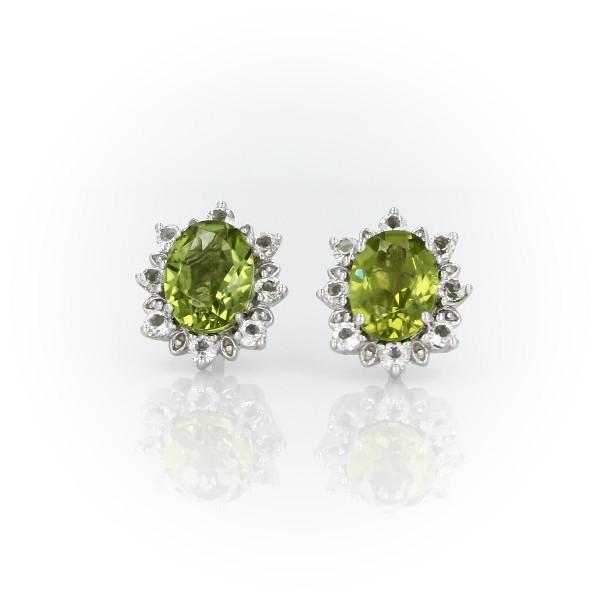 925 純銀旭日橢圓橄欖石釘款耳環(8x6毫米)