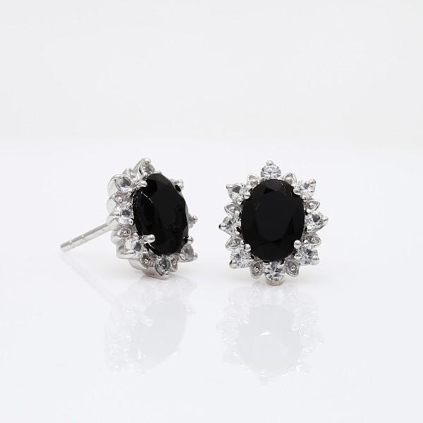 Blue Nile Sunburst Oval Black Onyx Stud Earrings in Sterling Silver (8x6mm) NkzAQ