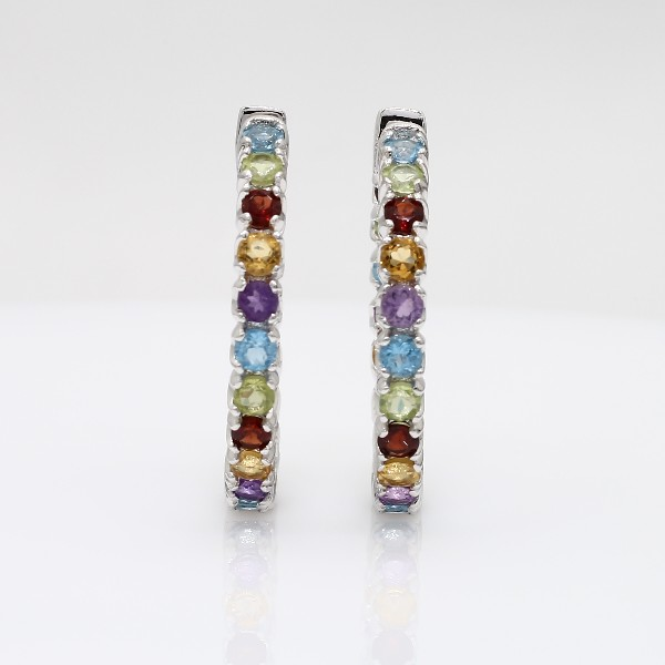 Multicolored Gemstone Hoop Earrings in Sterling Silver (2.5mm)