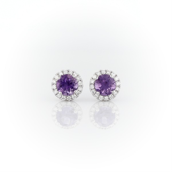 Amethyst and Micropavé Diamond Stud Earrings in 18k White Gold (5mm)