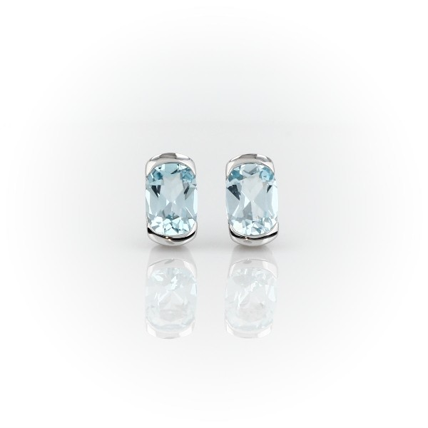 Semi-Bezel Oval Blue Topaz Earrings in 14k White Gold (7x5mm)