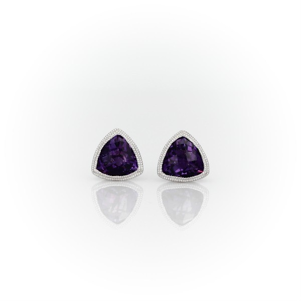 Trillion Amethyst Earrings with Milgrain Detail in 14k White Gold (6mm)