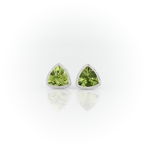 Trillion Peridot Earrings with Milgrain Detail in 14k White Gold (6mm)
