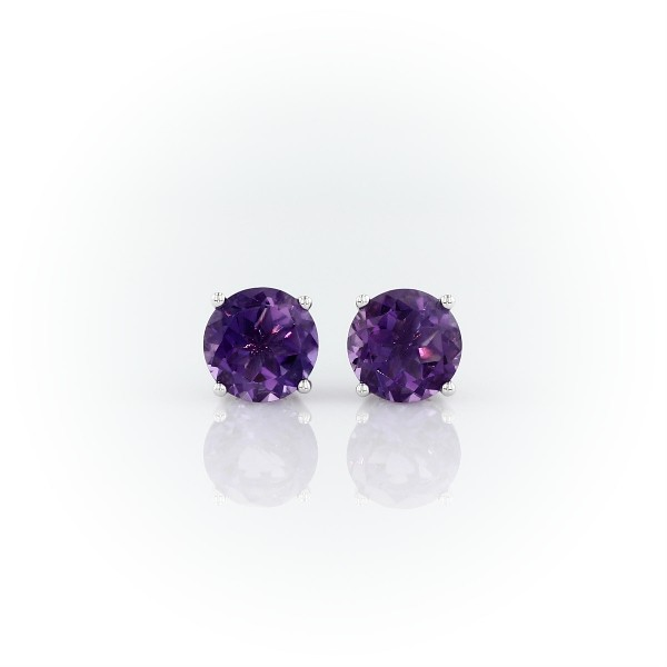 Amethyst Stud Earrings in 14k White Gold (7mm)