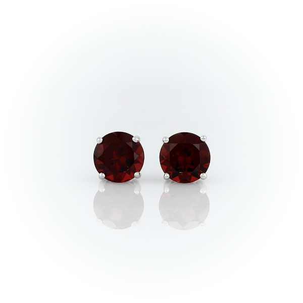 Garnet Stud Earrings in 14k White Gold (7mm)