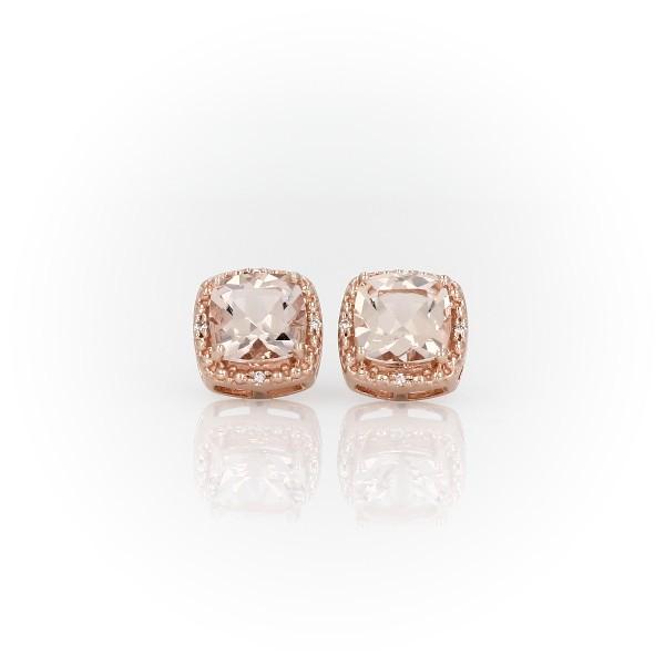 Puces d'oreilles halo de diamants et morganite en or rose 14carats (6mm)