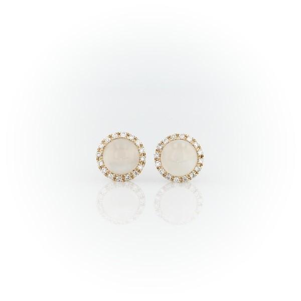 14k 黃金小巧白色月長石磨光凸圓形寶石搭鑽石光環耳環(5毫米)
