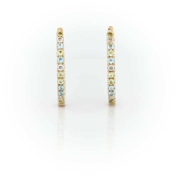 Petite Blue Topaz, Sky Blue Topaz and Peridot Huggie Earrings in 14k Yellow Gold