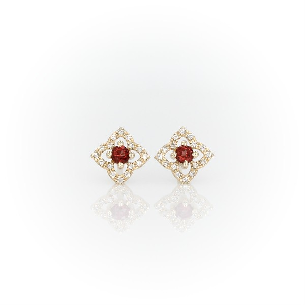 Petite Garnet Floral Stud Earrings in 14k Yellow Gold (2.4mm)