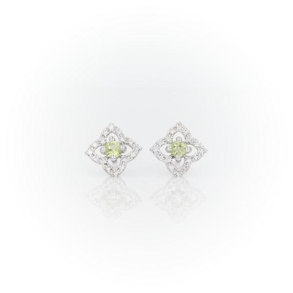 Petite Peridot Floral Stud Earrings in 14k White Gold (2.4mm)