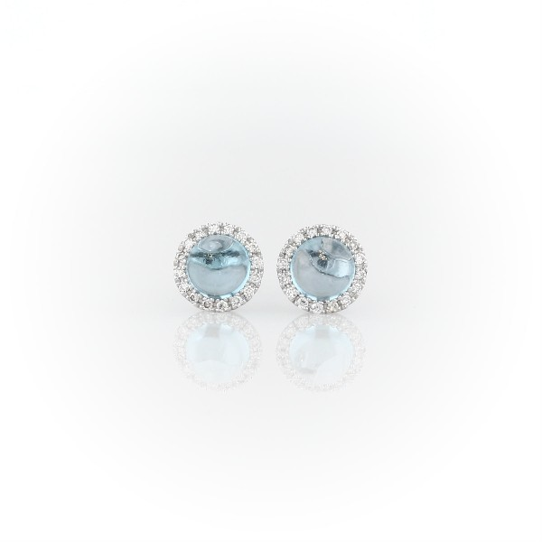 Petite Swiss Blue Topaz Earrings with Diamond Halo in 14k White Gold (5mm)