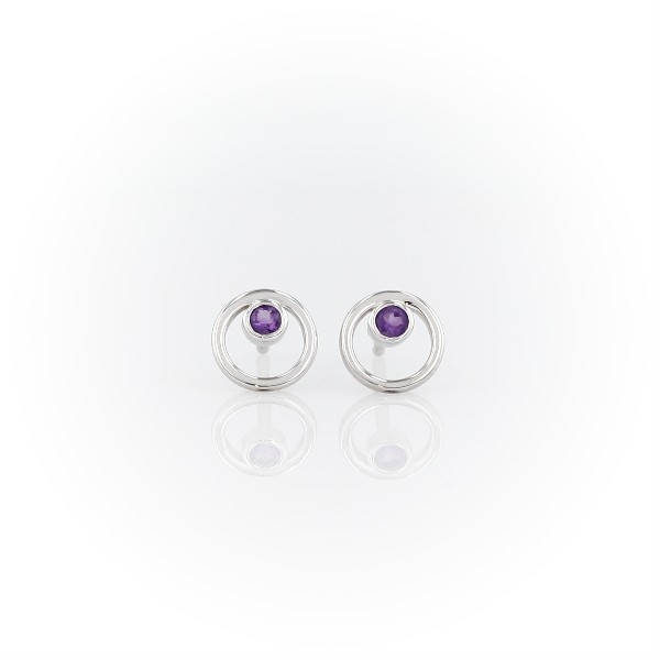 Blue Nile Petite Open Circle Amethyst Birthstone Earrings in 14k White Gold (2mm)