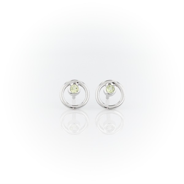 Petite Open Circle Peridot Birthstone Earrings in 14k White Gold (2mm)