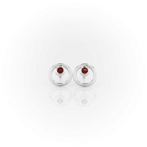 Petite Open Circle Garnet Birthstone Earrings in 14k White Gold (2mm)