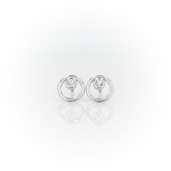 14k 白金小巧空心圆圈海蓝宝石生辰石耳环<br>(2毫米)