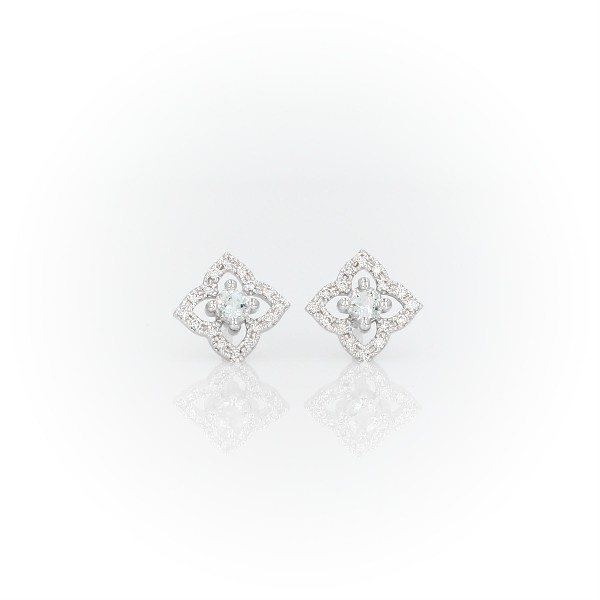 Petite Aquamarine Floral Stud Earrings in 14k White Gold (2.4mm)
