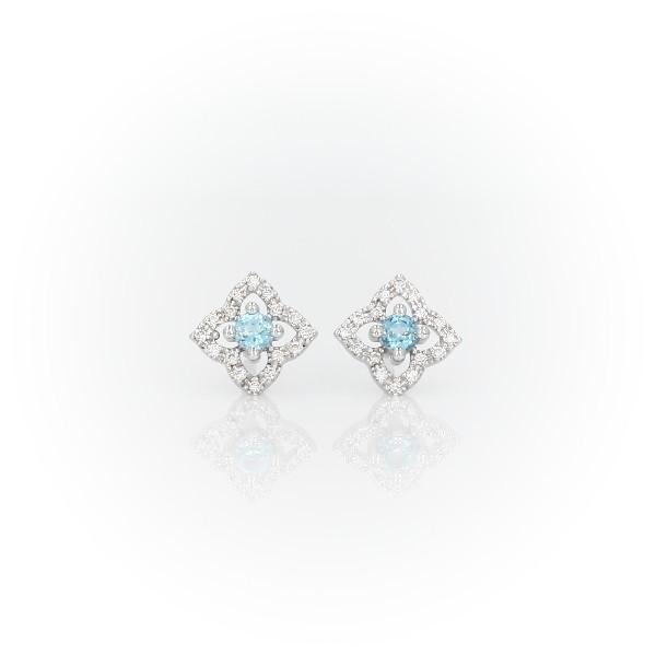 Petite Swiss Blue Topaz Floral Earrings in 14k White Gold (2.4mm)