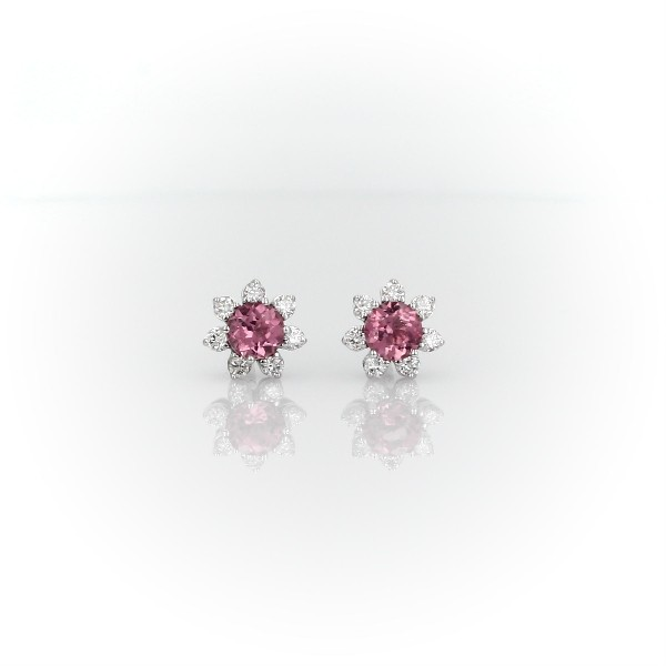 Mini Pink Tourmaline Earrings with Diamond Blossom Halo in 14k White Gold (3.5mm)