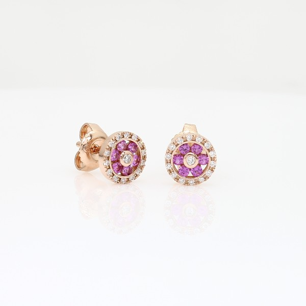 Blue Nile Pink Sapphire and Diamond Floral Stud Earrings in 14k Rose Gold (1.5mm) jQR19so5
