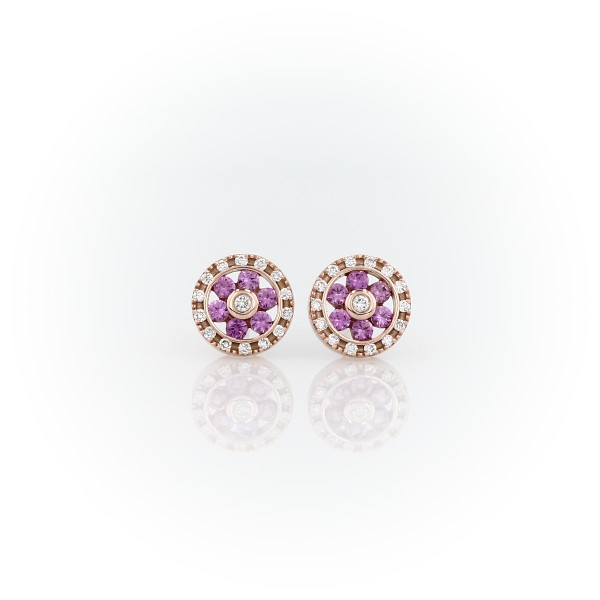 Pink Sapphire and Diamond Floral Stud Earrings in 14k Rose Gold (1.5mm)