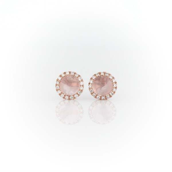 Petite Rose Quartz Cabochon Earrings with Diamond Halo in 14k Rose Gold (5mm)